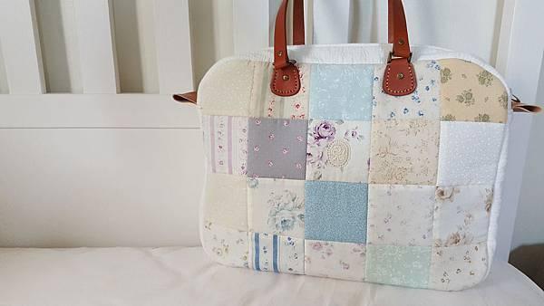清新藍拼布旅行袋