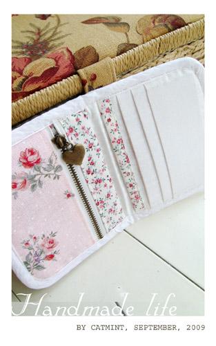 粉紅玫瑰布皮夾