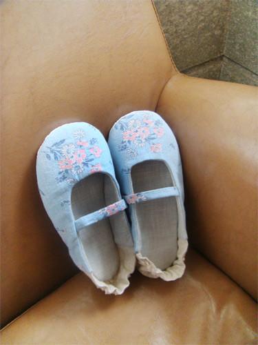 藍色棉麻小花鞋