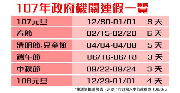 107年(2018)人事行政局行事曆