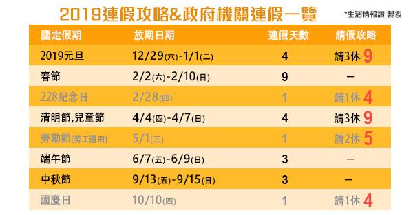 2019(108)連假,連休,行事曆,calendar