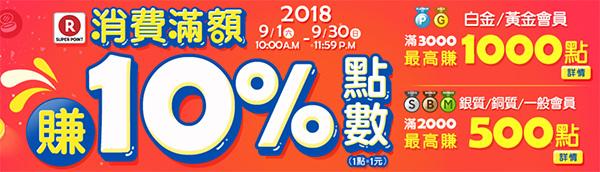 9月「台灣樂天Rakuten,滿額享10%點數回饋」