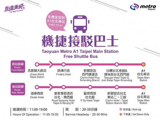 「桃園機場捷運」有免費接駁巴士▾免費送您到A1台北車站