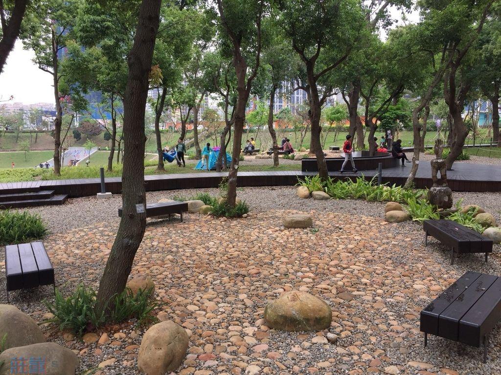 桃園親子公園【風禾公園】有人在盆地內草坪野餐、搭小帳篷
