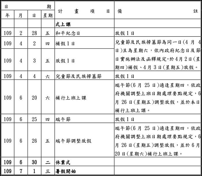 臺北市政府教育局所屬各級學校(高中,國中,國小)108學年開學日及假期等行事簡曆一覽表3