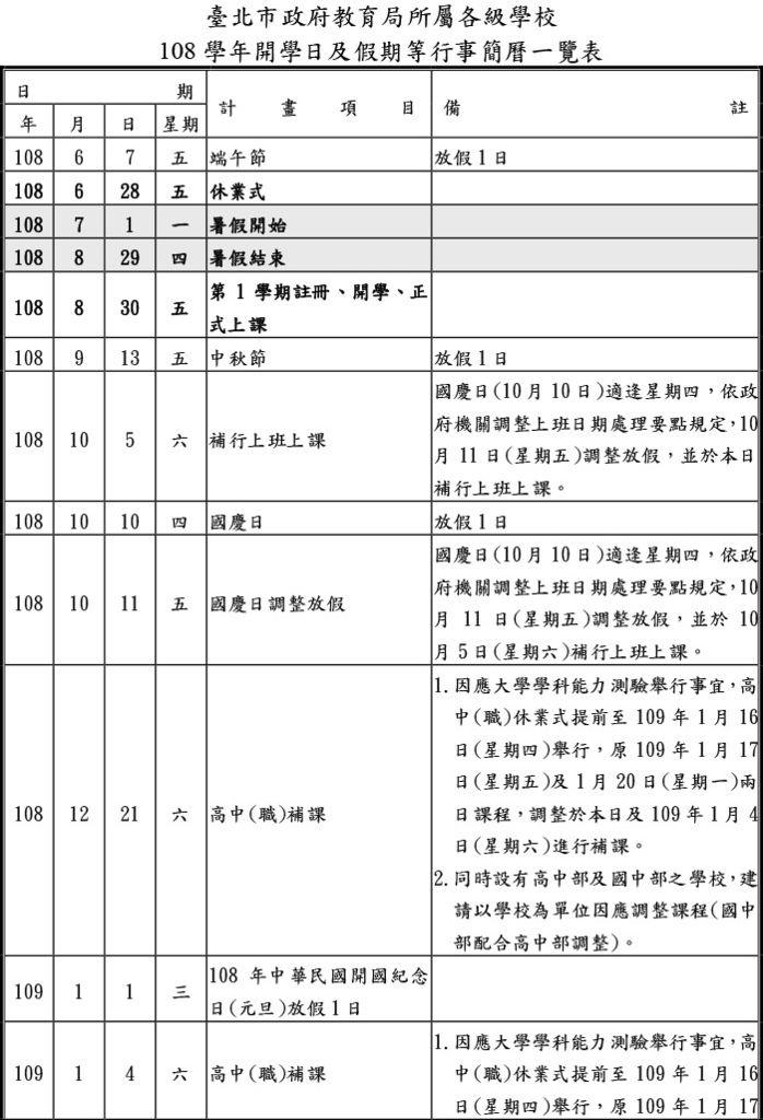 臺北市政府教育局所屬各級學校(高中,國中,國小)108學年開學日及假期等行事簡曆一覽表1