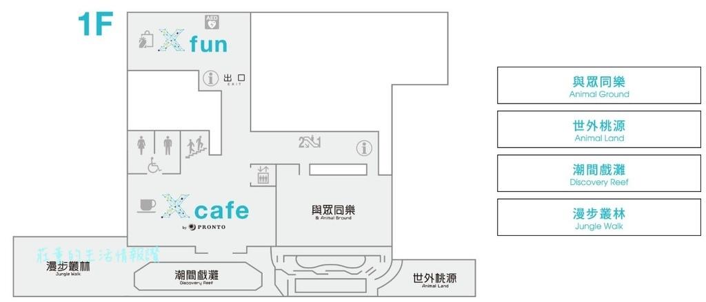 桃園水族館Xpark樓層簡介 1F