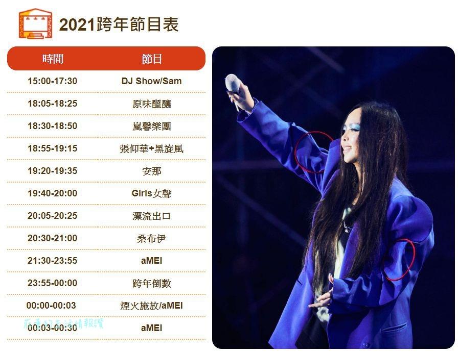 台東跨年2021 張惠妹(阿妹)演唱會 跨年節目表