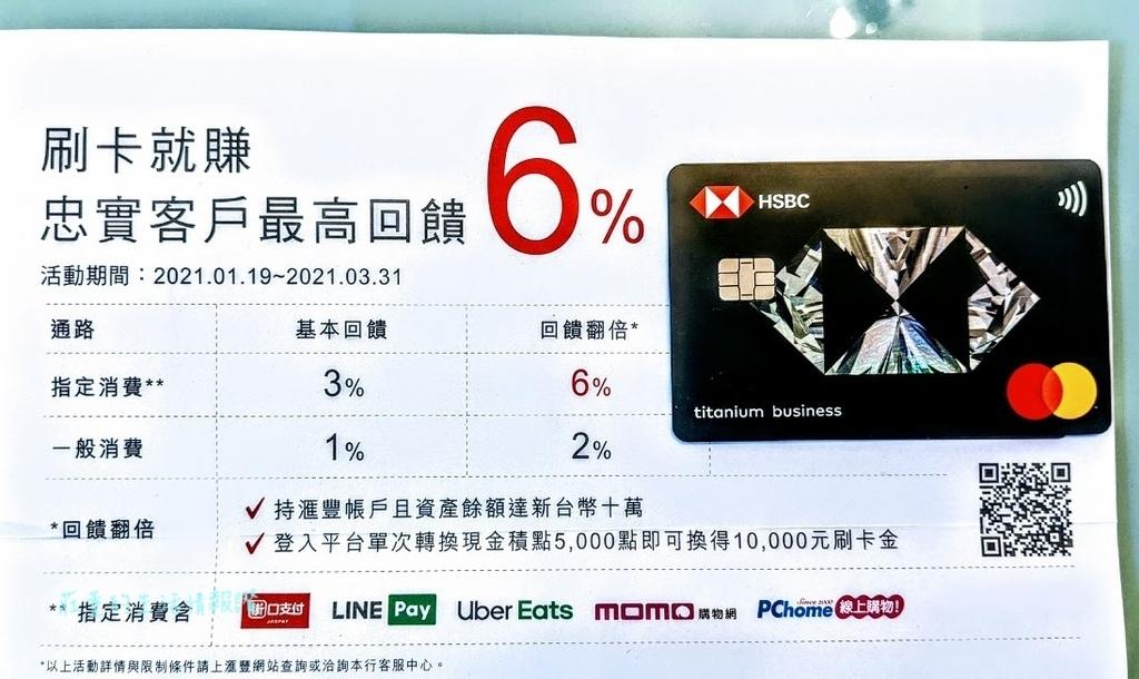 linepay信用卡,街口信用卡推薦2021 滙豐銀行匯鑽卡 最高6%現金回饋
