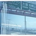 從關西機場出來,遊覽車開往天保山去...