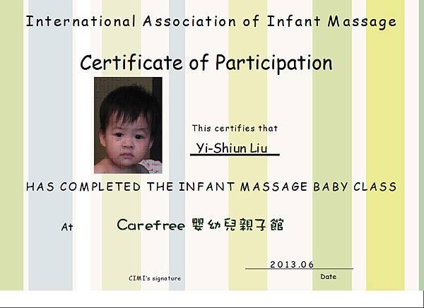 Infant Massage baby's certificate.JPG