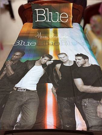 blue single bed