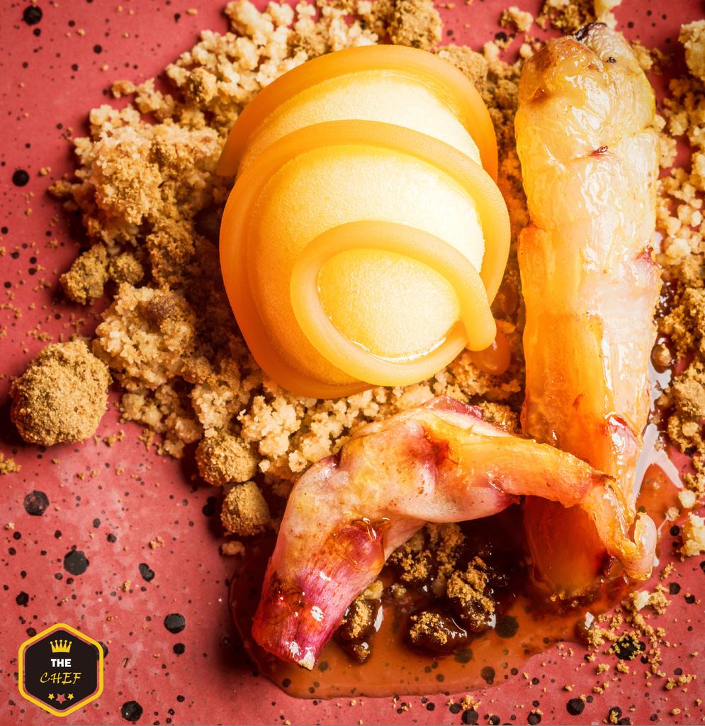 Caramelized oca, orange sorbet and banana vinegar caramel.jpg