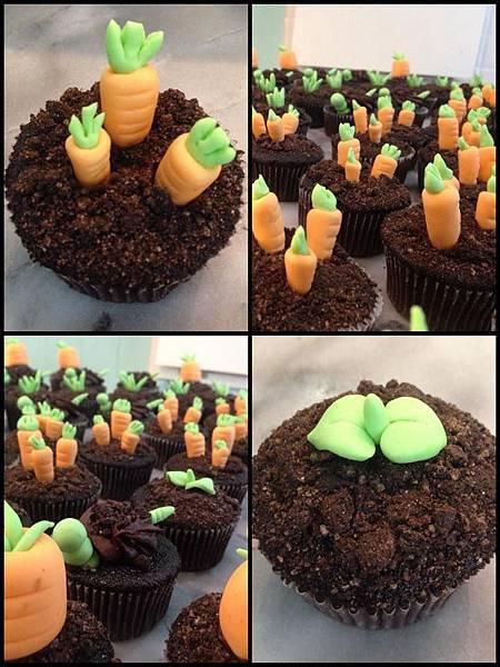 盆栽田園系翻糖杯子蛋糕