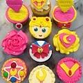 美少女戰士翻糖杯子蛋糕