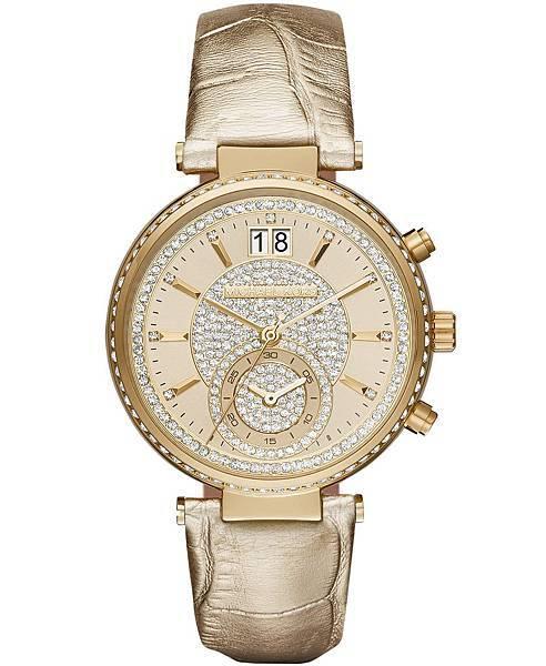Michael Kors SAWYER系列金屬光金色皮帶錶款NT$13,210