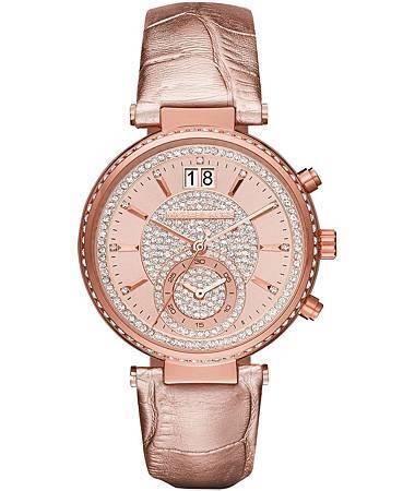 Michael Kors SAWYER系列金屬光玫瑰金皮帶錶款NT$13,210