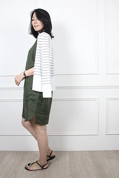 70607.質感棉麻口袋洋裝 綠 $1980