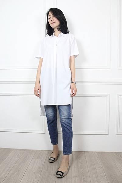 70617.白色長版開襟襯衫 $1480