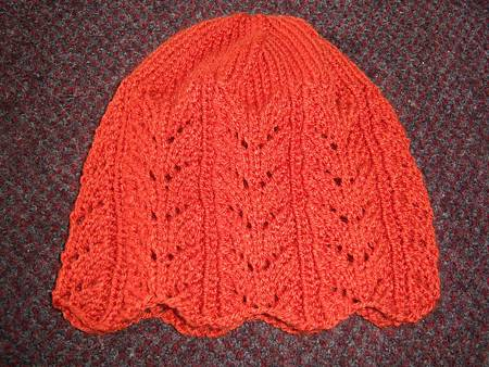 Nov242011 Lacy Leaf Hat & Mittens from RedHeart