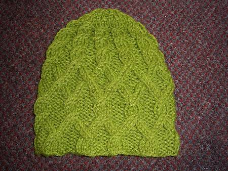 Jan032012 Twisted Lattice Cable Hat - lime green