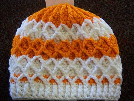 Dec262011 Lattice Hat - orange and white