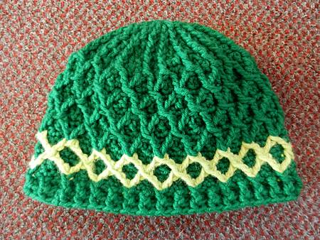 Mar082012 Lattice Hat - green with lime green