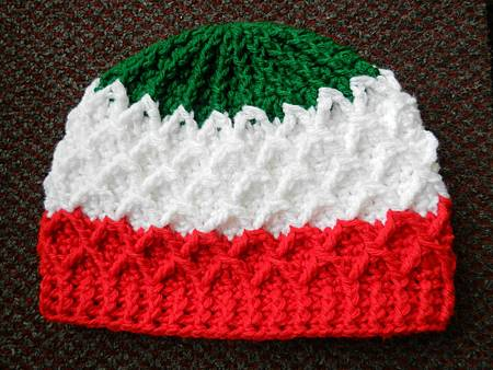 Mar192012 Lattice Hat - green white red