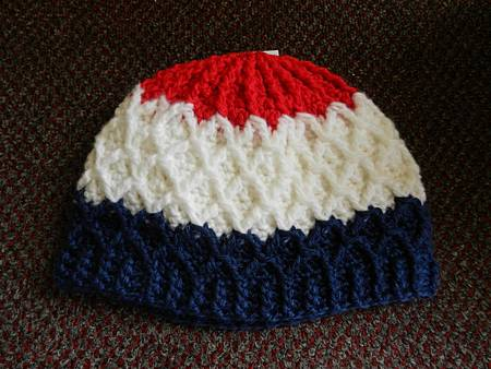 Mar212012 Lattice Hat - red white DK blue