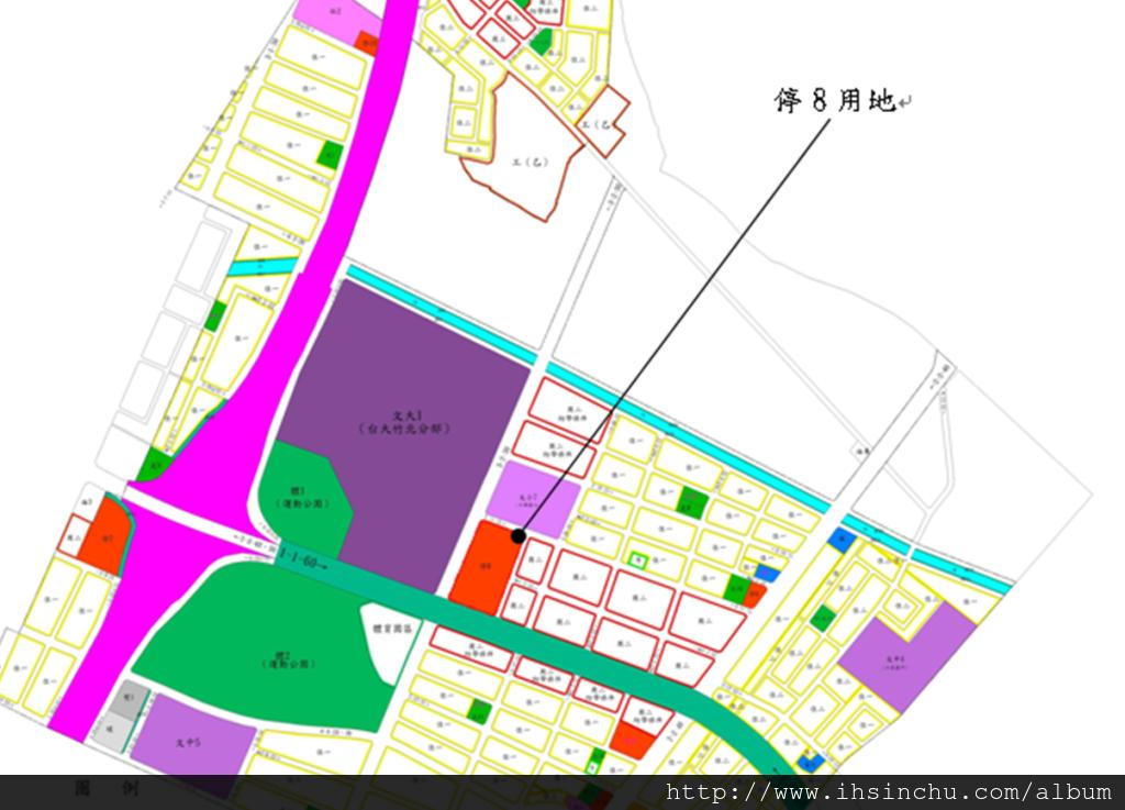 新竹縣竹北市停八停車場委託民間參與興建營運案(停八停車場BOT案)基地位置