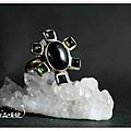 星光黑寶石+碧璽戒指,靈礦!
