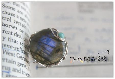 藍暈拉長石+天河石魔法戒指,增強感受力與靈擺思維連接神性微調。