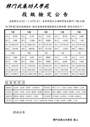【2014年韓門春季段級檢定公告】4/21(一)~4/27(日)各班進行檢定