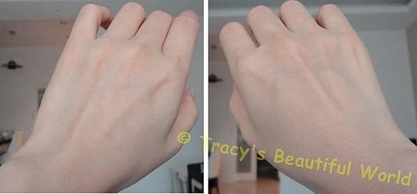 左手搽上超進化肌因賦活露右手沒有搽比較圖