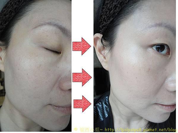 ELLIS FAAS‧裸膚柔紗粉底液~右半臉妝前妝後比較