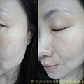 ELLIS FAAS‧裸膚柔紗粉底液~左臉妝前妝後比較