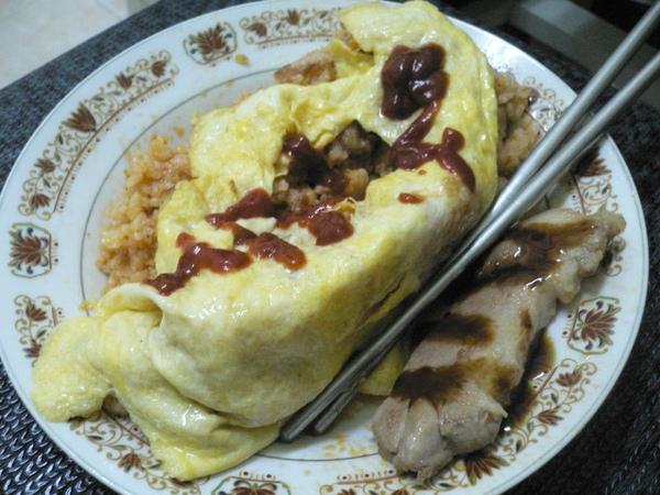蛋包飯+豬排