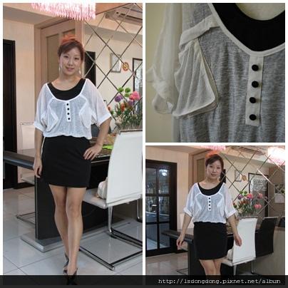 301     假兩件黑白洋裝     NT:550     胸寬:40  外罩衫   45   彈性佳          衣長:78