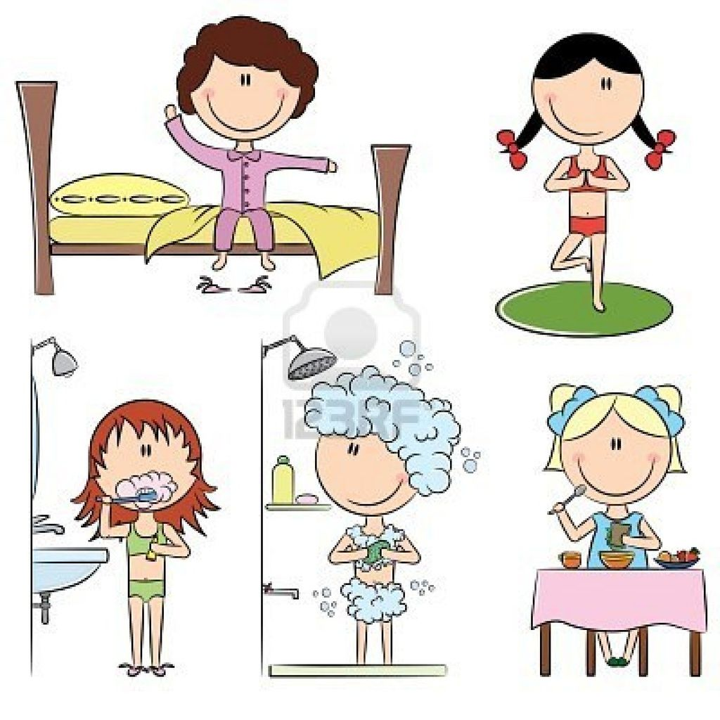 8663577-daily-morning-girls-life-including-wake-up-yoga-teeth-cleaning-shower-and-breakfast