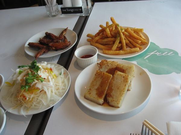 雞翅+薯條+泰式拌花枝+港式蘿蔔膏