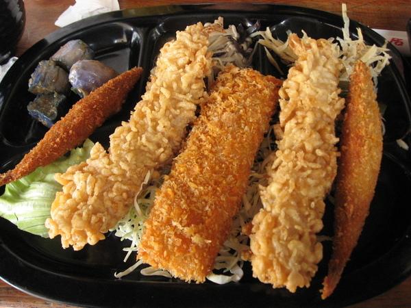 明蝦海鮮捲定食