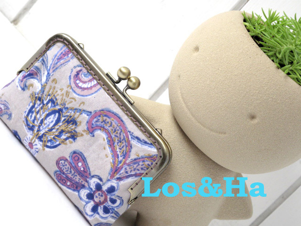 印度藕紫花手機口金包2