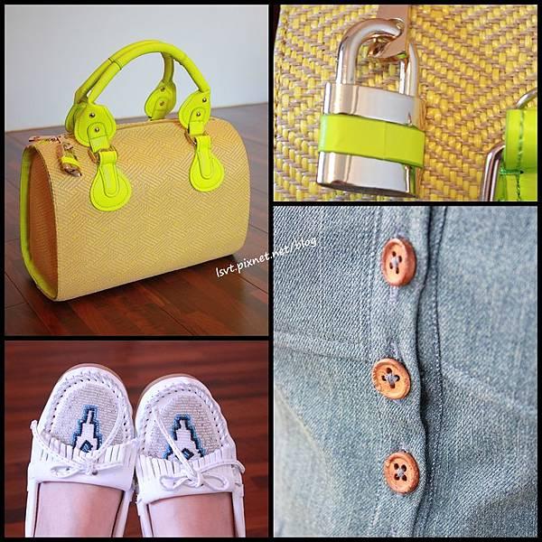 螢光黃藤編包 莫卡辛鞋