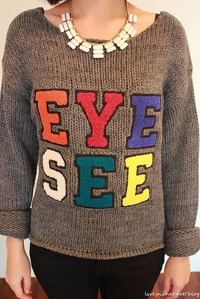 灰色童趣針織毛衣