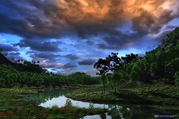 暴風雨臨近-樹林-小河-646x970