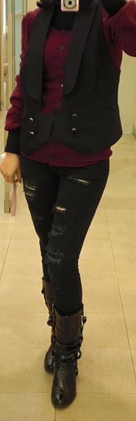 Sonia Rykiel wool cardigan/ Karl Lagerfeld vest/ insight skinny jeans