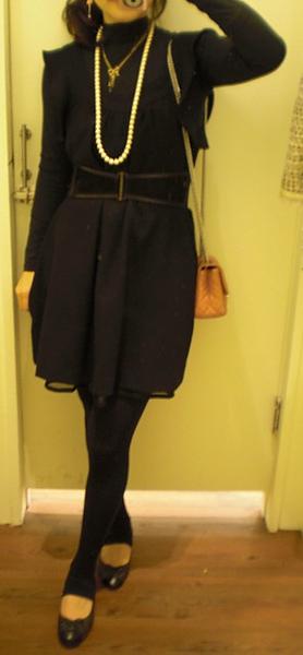 jill stuart dress/ anna sui belt/ chanel bag and shoes