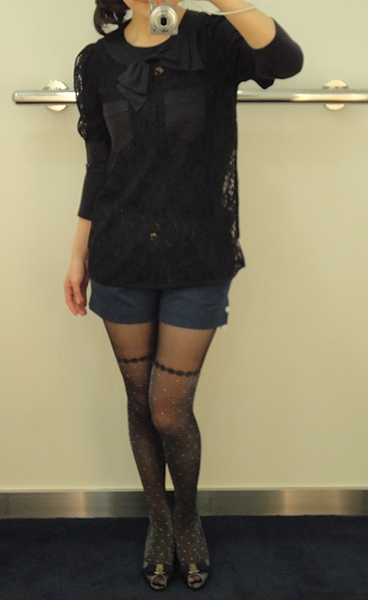marc by marc jacobs shorts and lace top/ SF shoes
