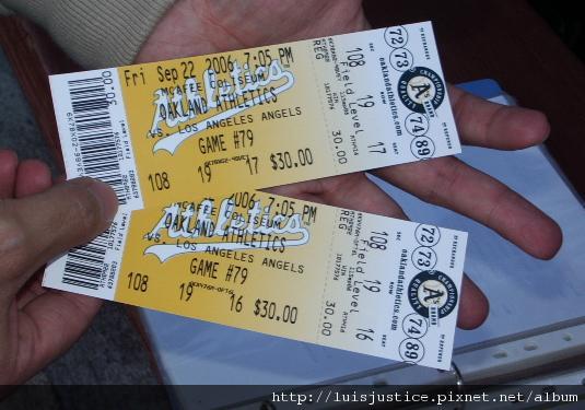 20060922052 運動家vs天使球票.JPG