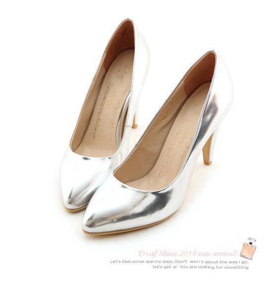 D+af顯瘦金屬美型尖頭高跟鞋-銀色尖頭高跟鞋 (81)